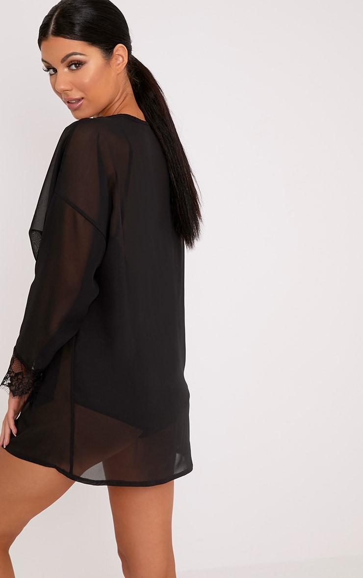 Hazel Black Chiffon Short Dressing Gown 2