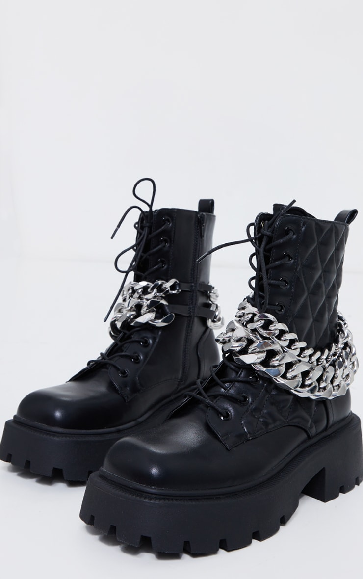 Black PU Quilted Chain Detail Extreme Cleat Ankle Biker Boots 3