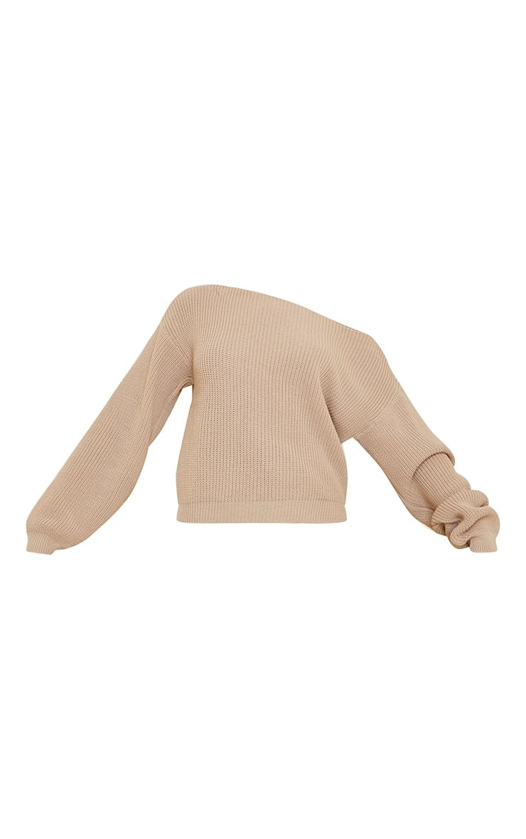 Christiana Stone Mixed Knit Slash Neck Crop Jumper 5