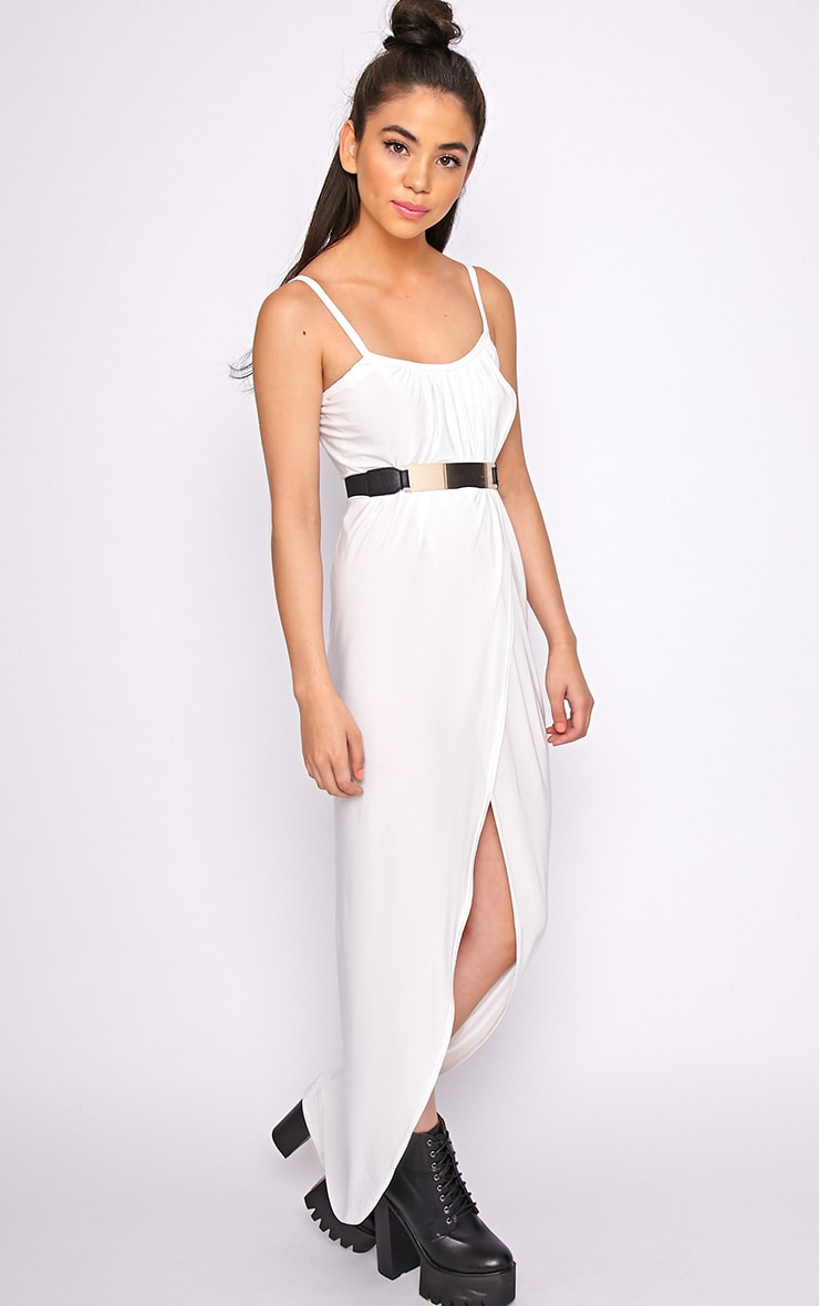 Selma White Extreme Slit Maxi Dress-M/L 1