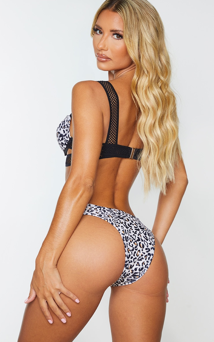 Black Leopard Push Up Cupped Strappy Fishnet Strap Bikini Top 2