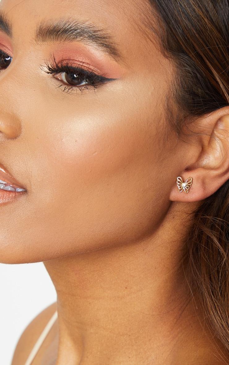 Gold Diamante Butterfly Earrings 1