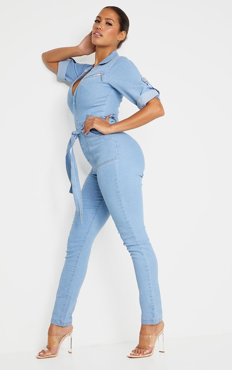 Shape - Combinaison zippée en jean bleu très délavé à manches courtes  3