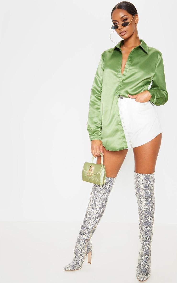 Olive Khaki Satin Button Front Shirt  4