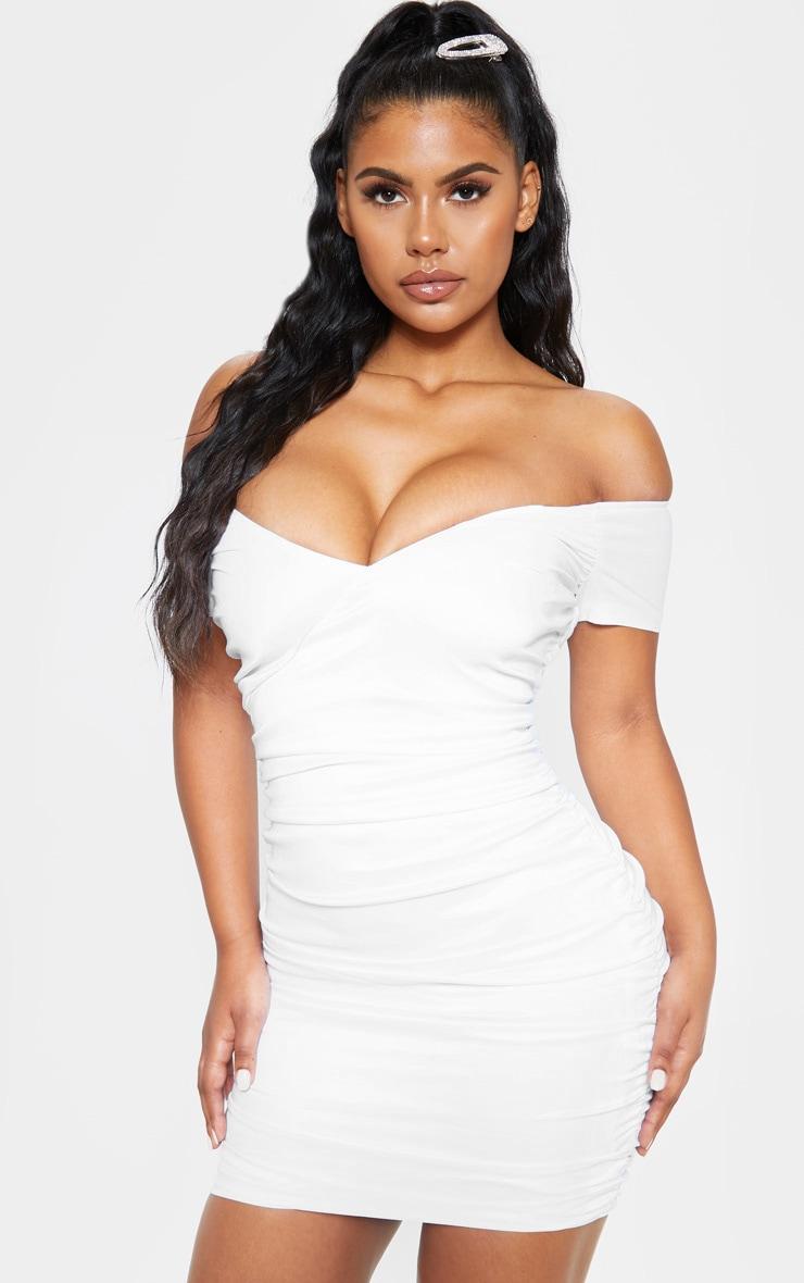 White Ruched Bardot Bodycon Dress 1