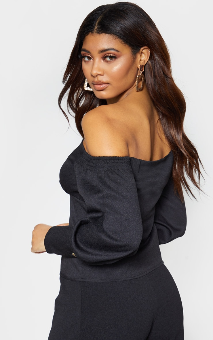 Tall Black Ruched Shoulder Button Front Top 2