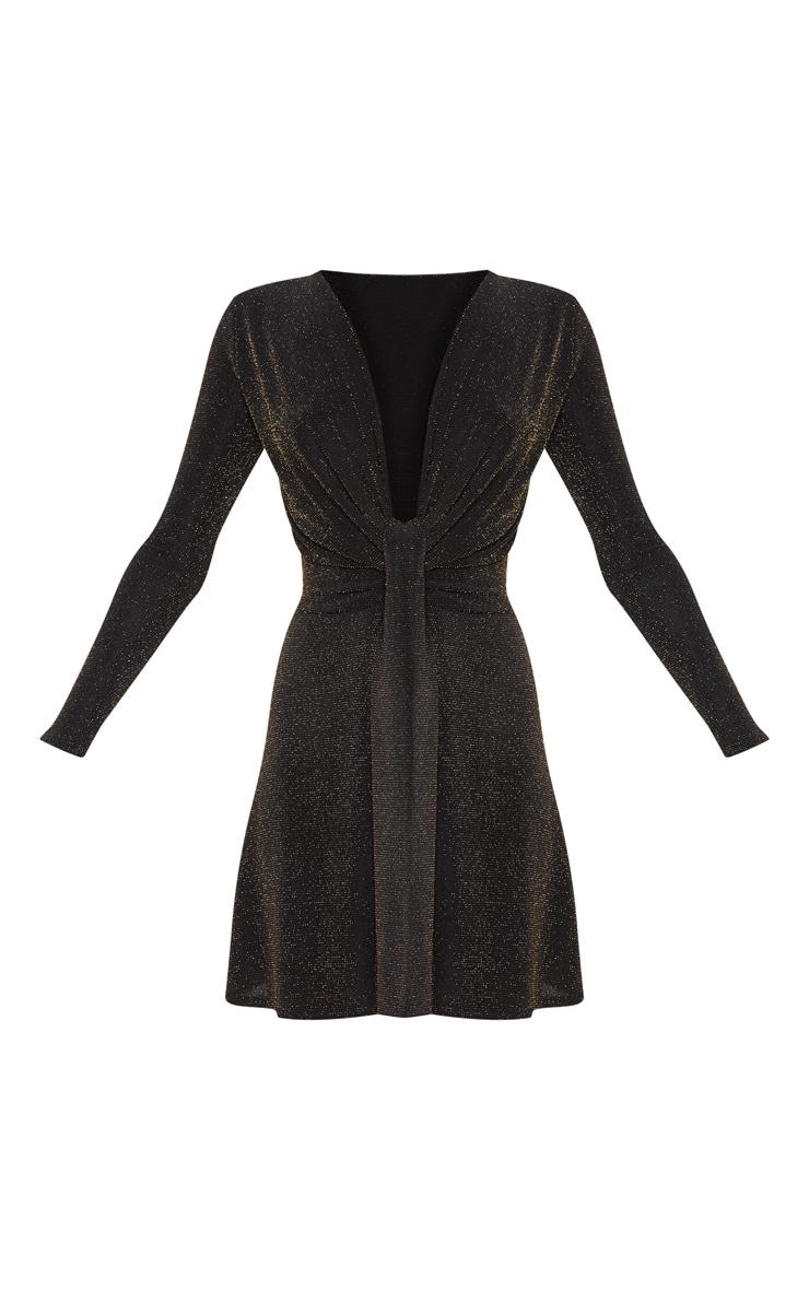 Robe patineuse décolletée à paillettes noire et détail noeud 3