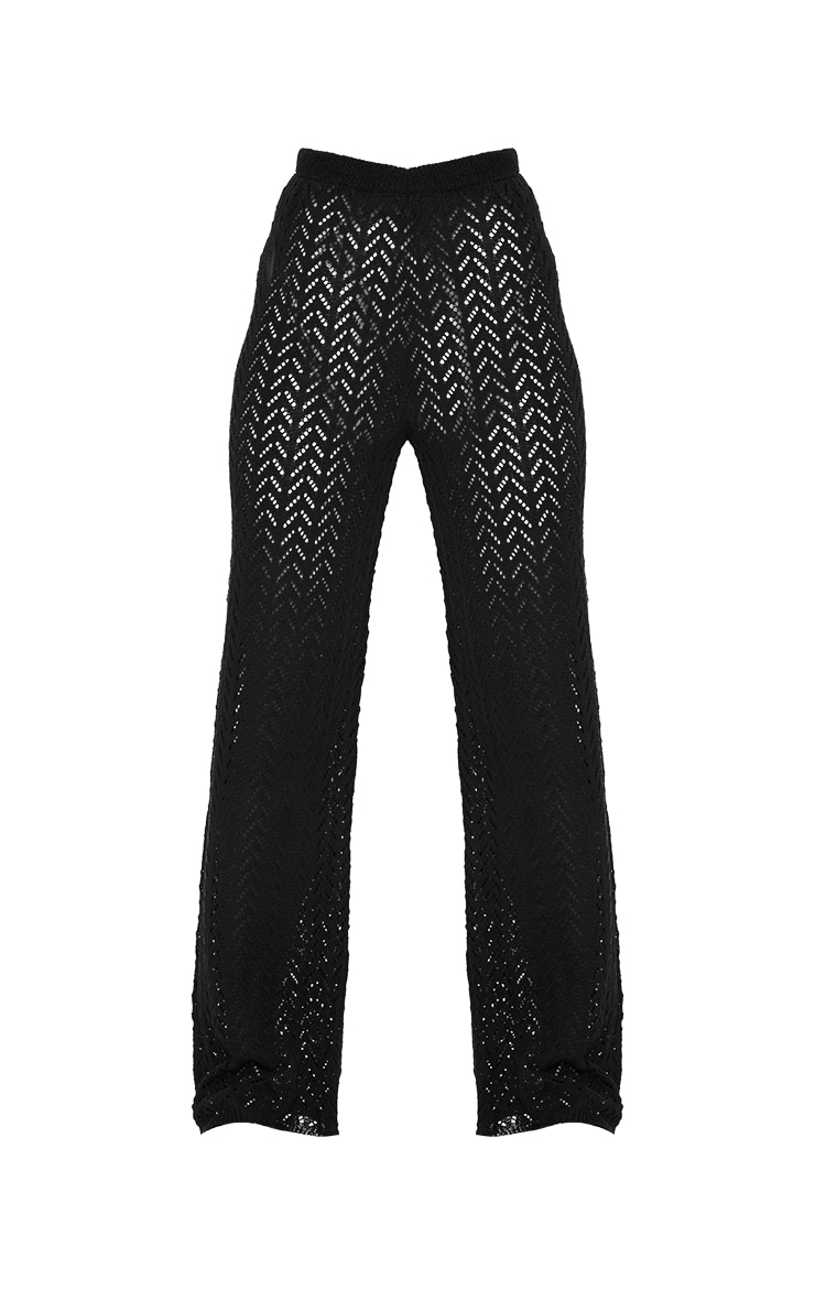 Black Crochet Knitted Flare Trousers 5