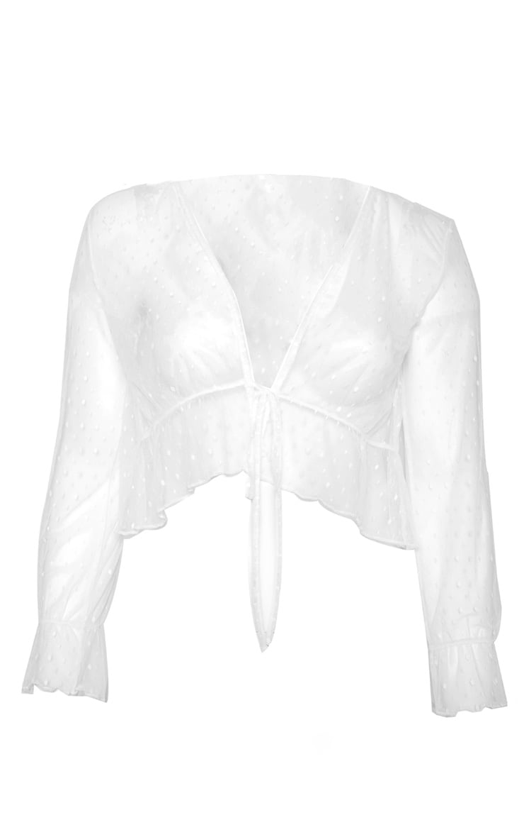 Plus White Dobby Mesh Sheer Tie Front Blouse 3
