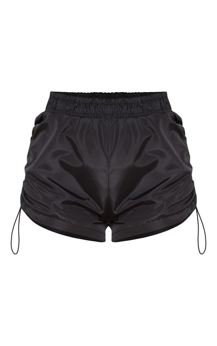 Black Toggle Ruched Side Running Shorts 3