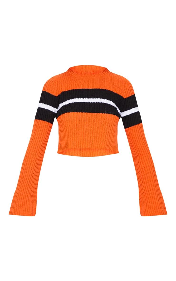 Orange Striped Flared Sleeve Cropped Jumper  3