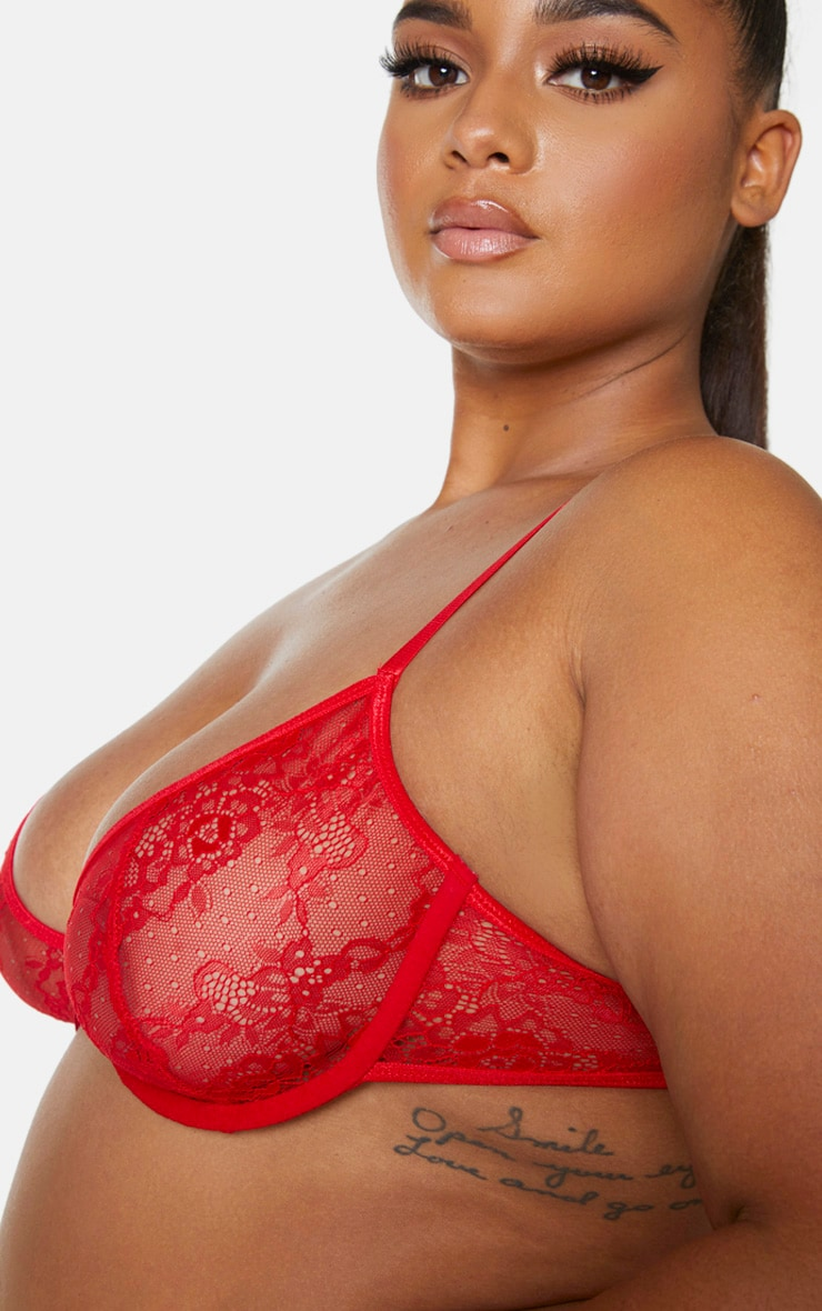 Plus Red Floral Lace Underwired Bra 4
