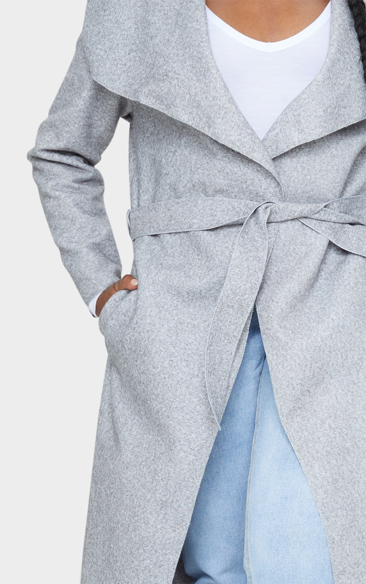 Petite Grey Maxi Length Oversized Waterfall Belted Coat 4