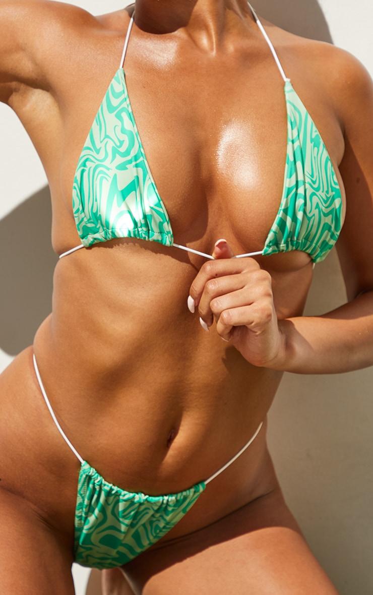 Green Swirl Print Tanga Bikini Bottoms 4