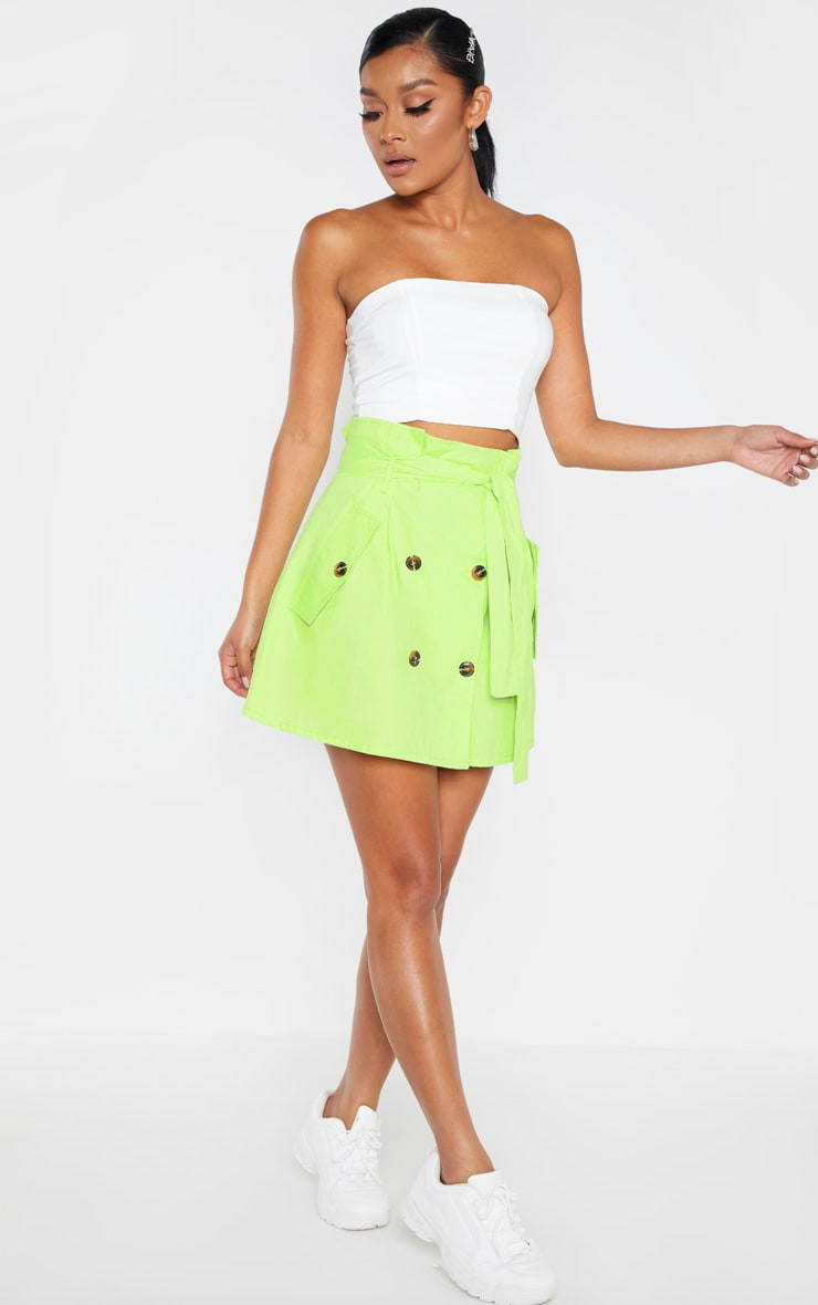 Lime Trench Tie Waist A line Mini Skirt 5