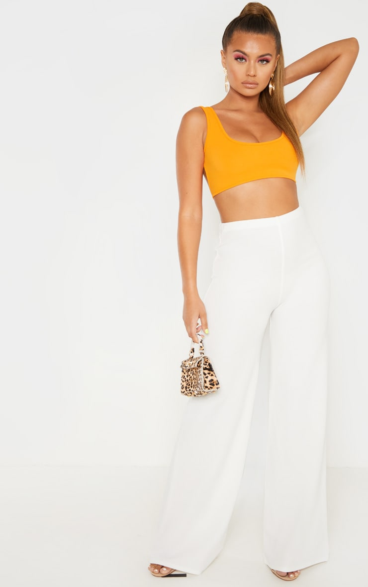 Bright Orange Mix & Match Crepe Scoop Neck Strap Crop Top 4