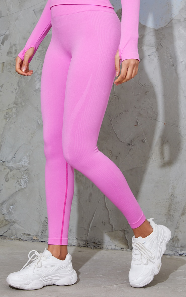 Bright Pink Basic Detail Seamless High Waist Gym Leggings 2