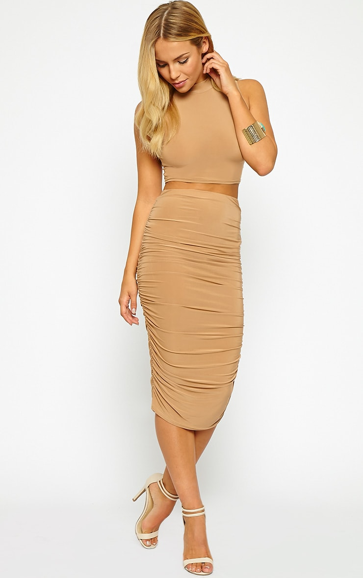 Saylor Camel Slinky Gathered Midi Skirt 1