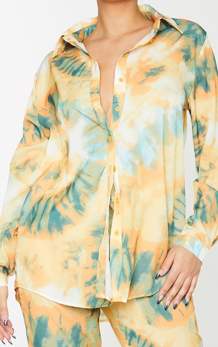 Orange Tie Dye Print Long Sleeve Oversized Shirt 4