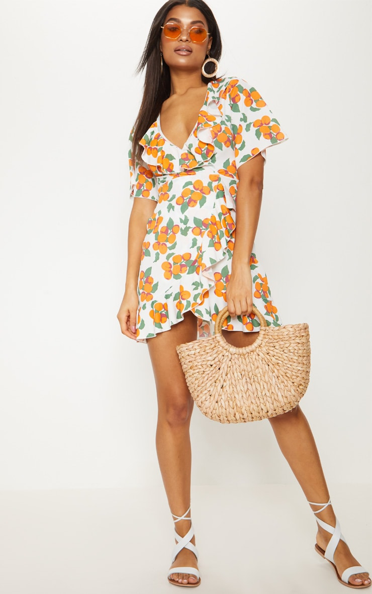 Orange Print Frill Wrap Over Tea Dress 4