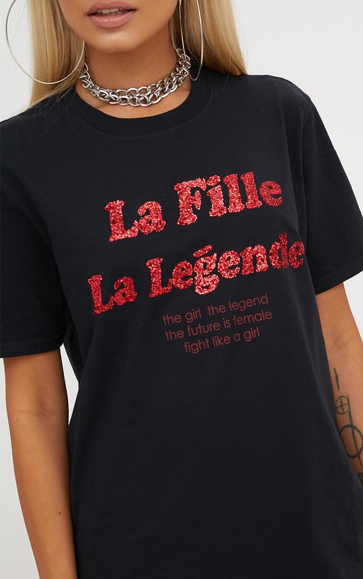 Black La Fille Glitter Slogan T Shirt 5