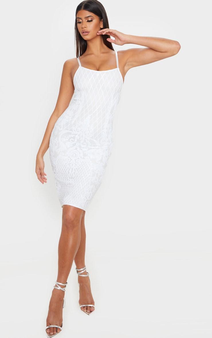 White Strappy Sequin Detail Split Back Midi Dress 3