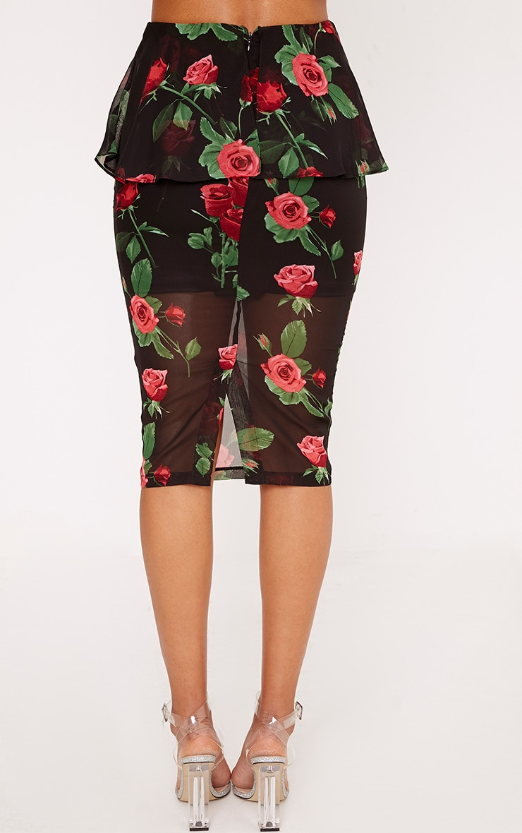 Jayne Black Frill Waist Dark Floral Midi Skirt  4