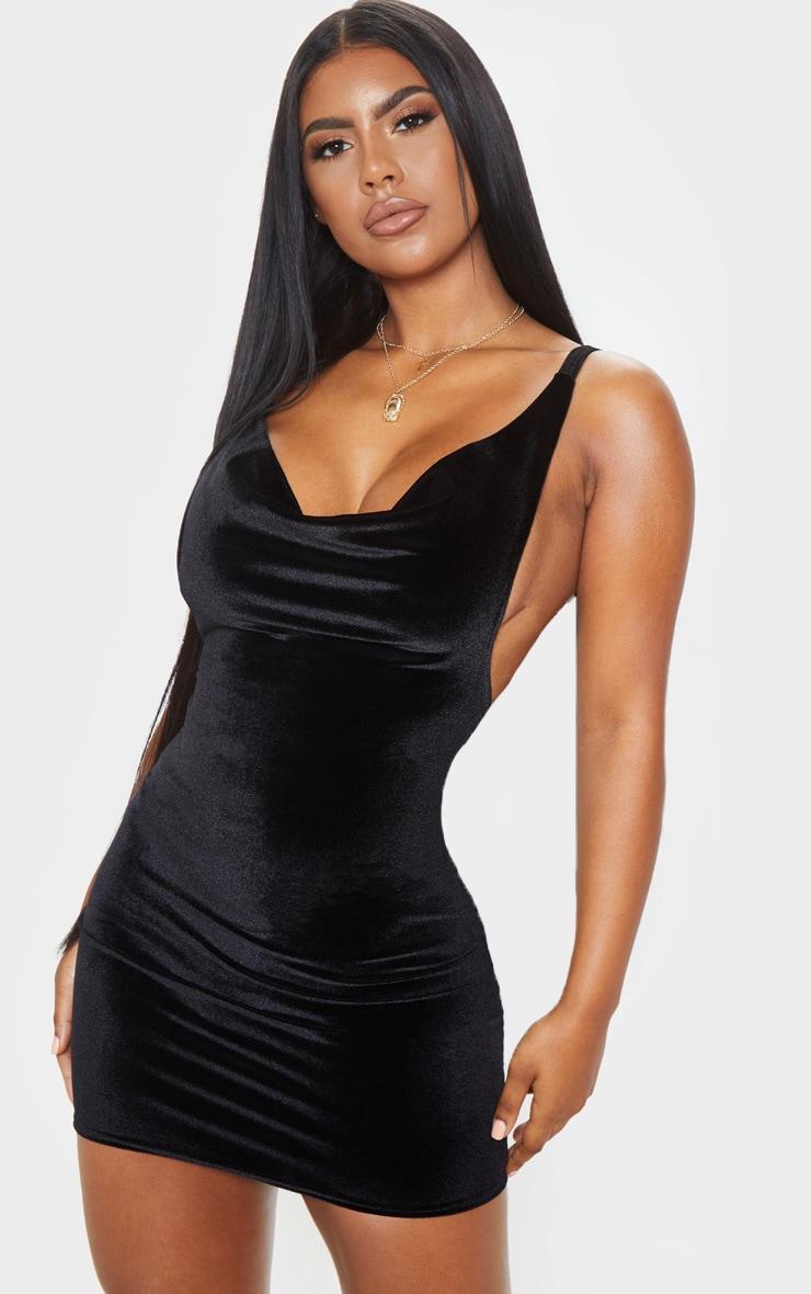 Wedding black textured glitter cowl neck bodycon dress fit fraser