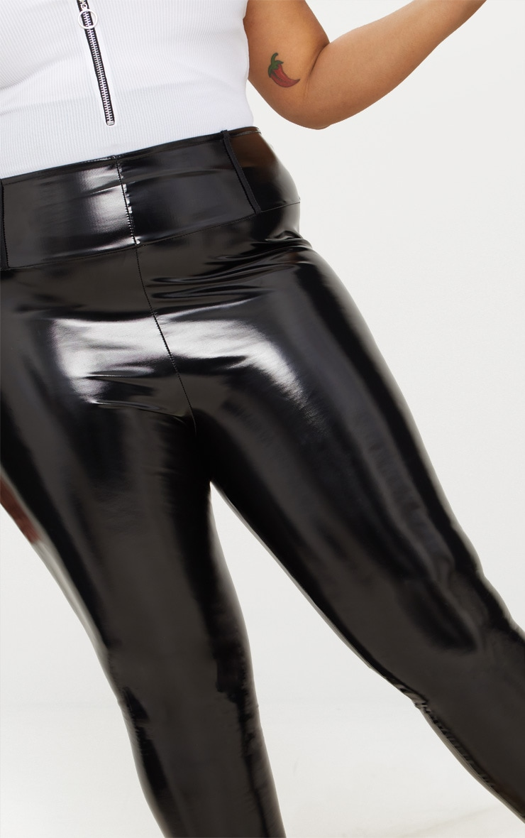 Plus Black High Waist Vinyl Leggings 5