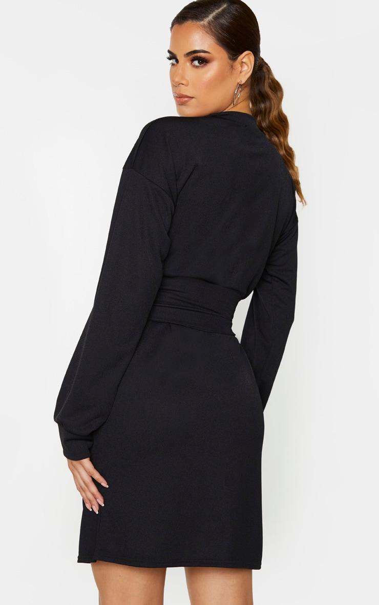 Tall Black Corset Detail Crepe Oversized Jumper Dress 2
