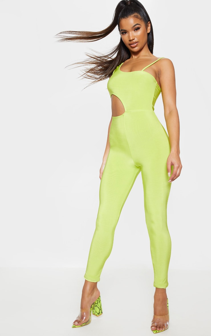 Neon Lime Slinky Waist Cut Out Detail Jumpsuit 1