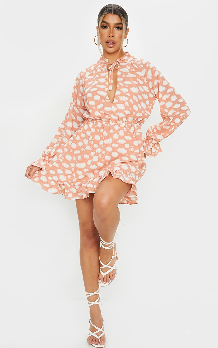 Stone Cloud Print Elasticated Frill Cuff Smock Dress image 1
