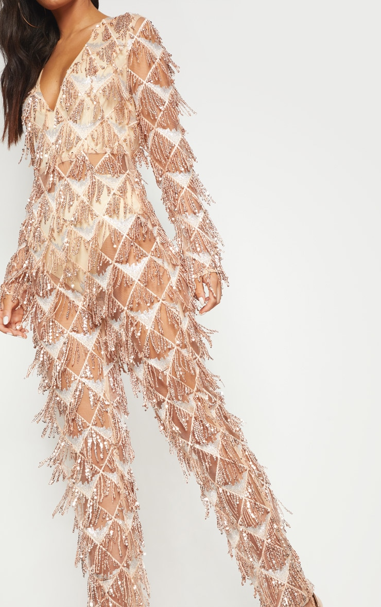 Rose Gold Tassel Sequin Plunge Jumpsuit 5