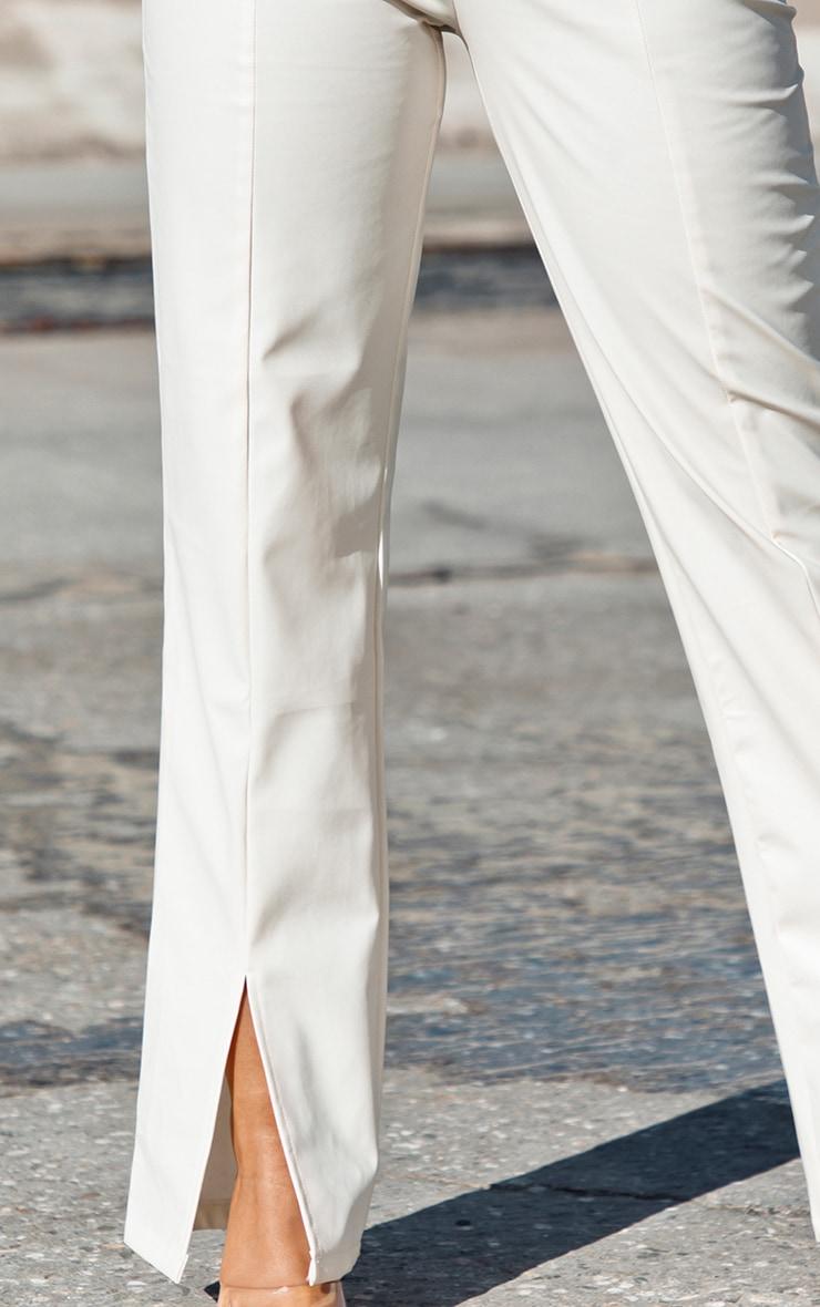 Cream Faux Leather Split Hem Trousers 4