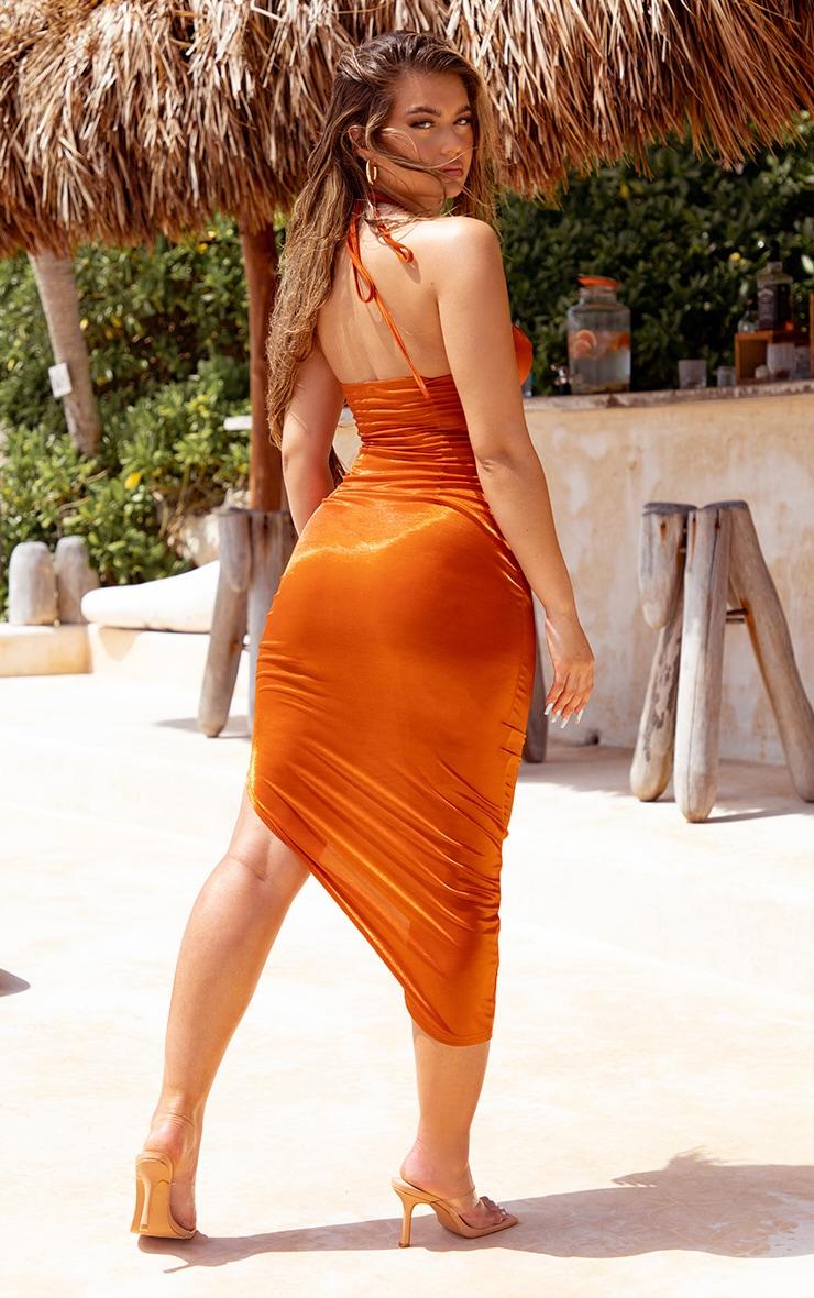 Orange Metallic Midaxi Cut Out Slip Beach Dress 2