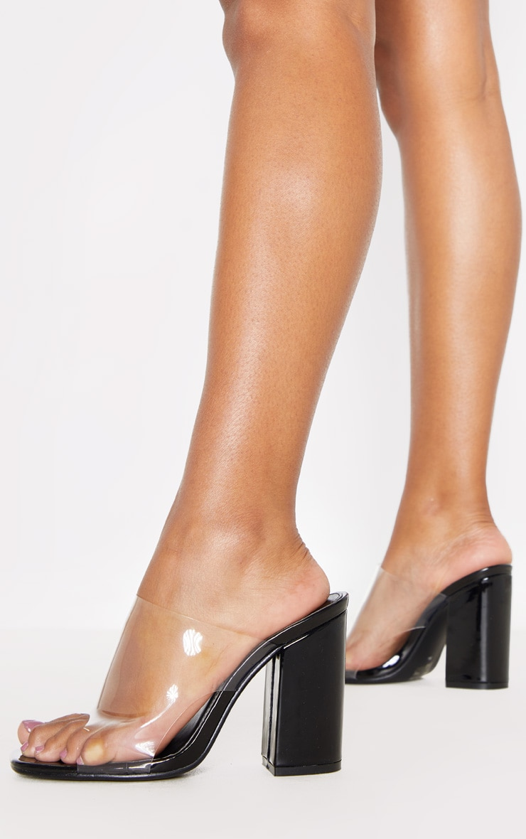 Black Square Toe Block Heel Clear Mules 1