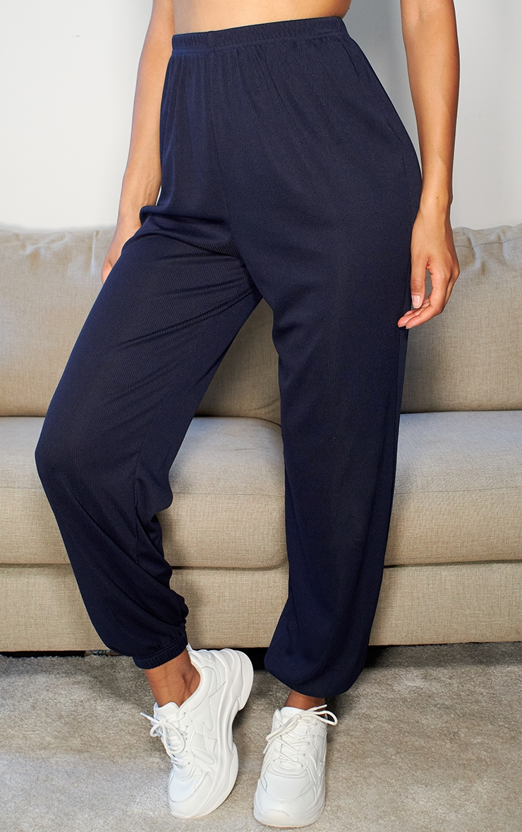 Navy Ribbed Casual Joggers 2