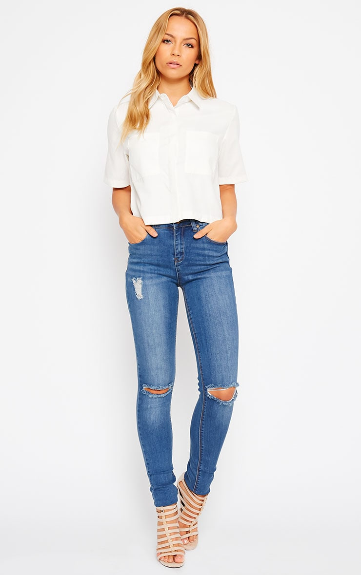 Brona Cream Crop Utility Shirt 3