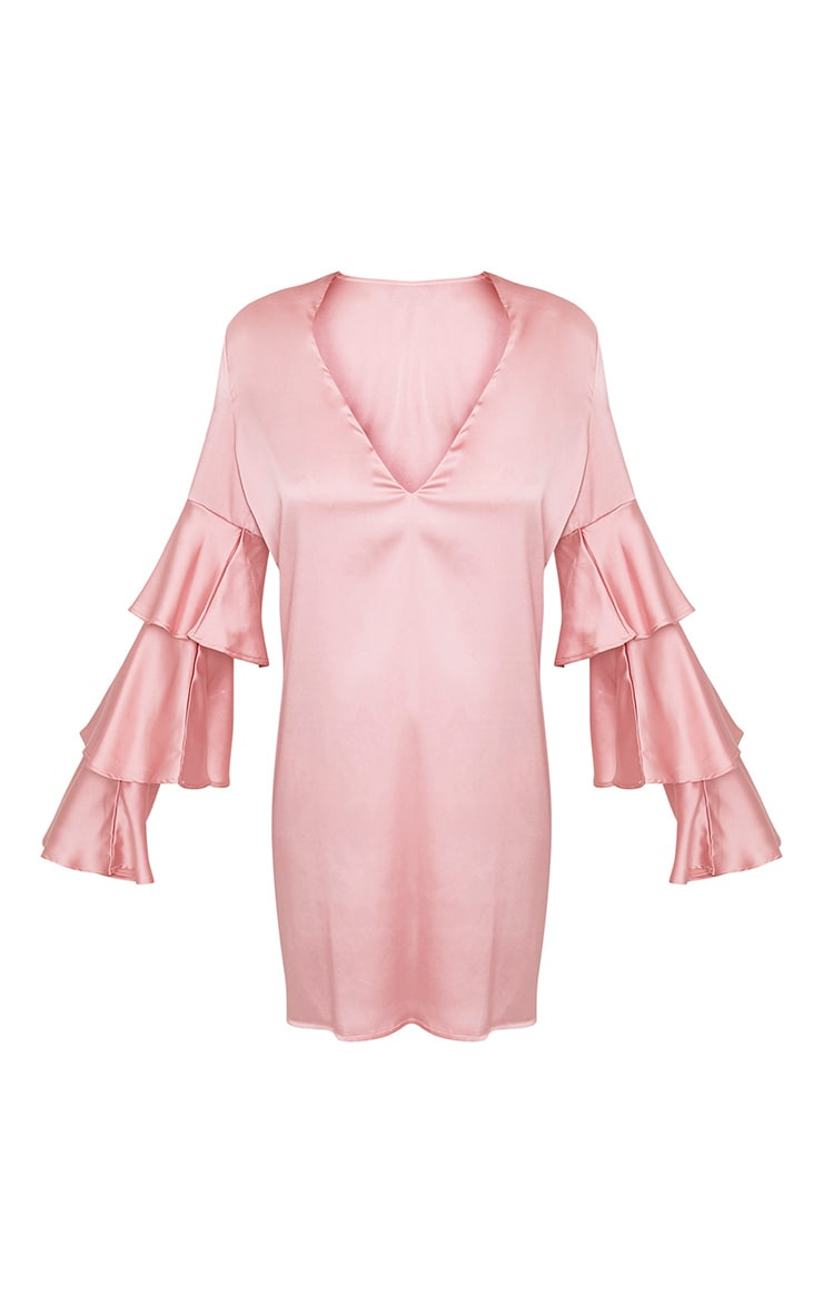 Kyleah Pink Satin Ruffle Sleeve Shift Dress 3