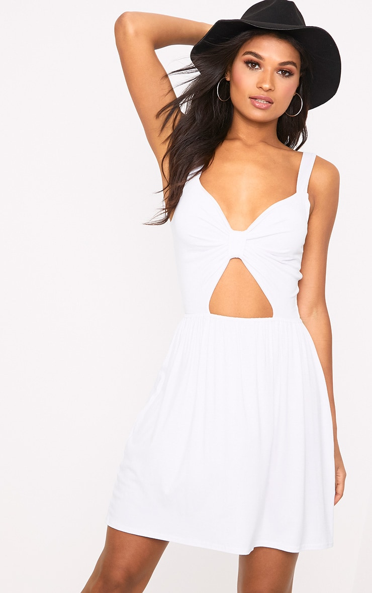 White Jersey Twist Front Swing Dress 1