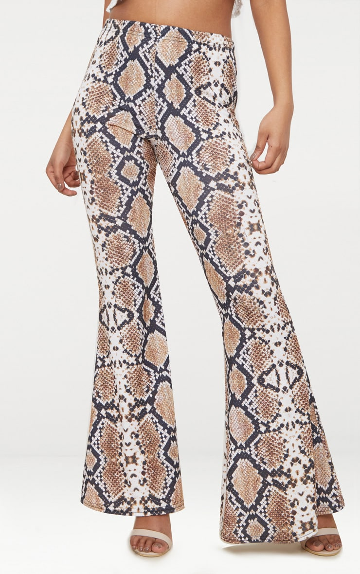 Petite White Snake Print Flared Pants 2
