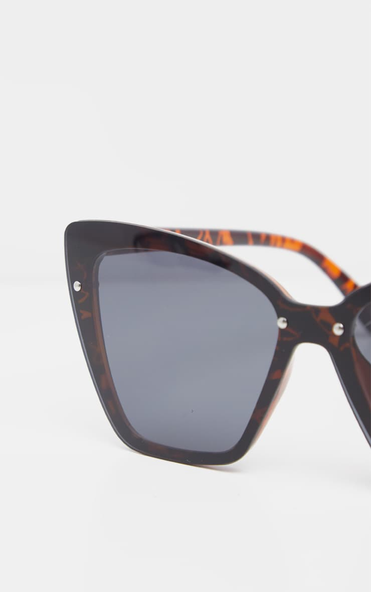 Tortoiseshell Hidden Frame Oversized Cat Eye Sunglasses 4