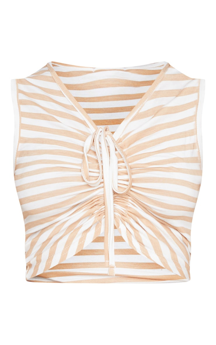 Tan Jersey Stripe Ruched Front Crop Top 5