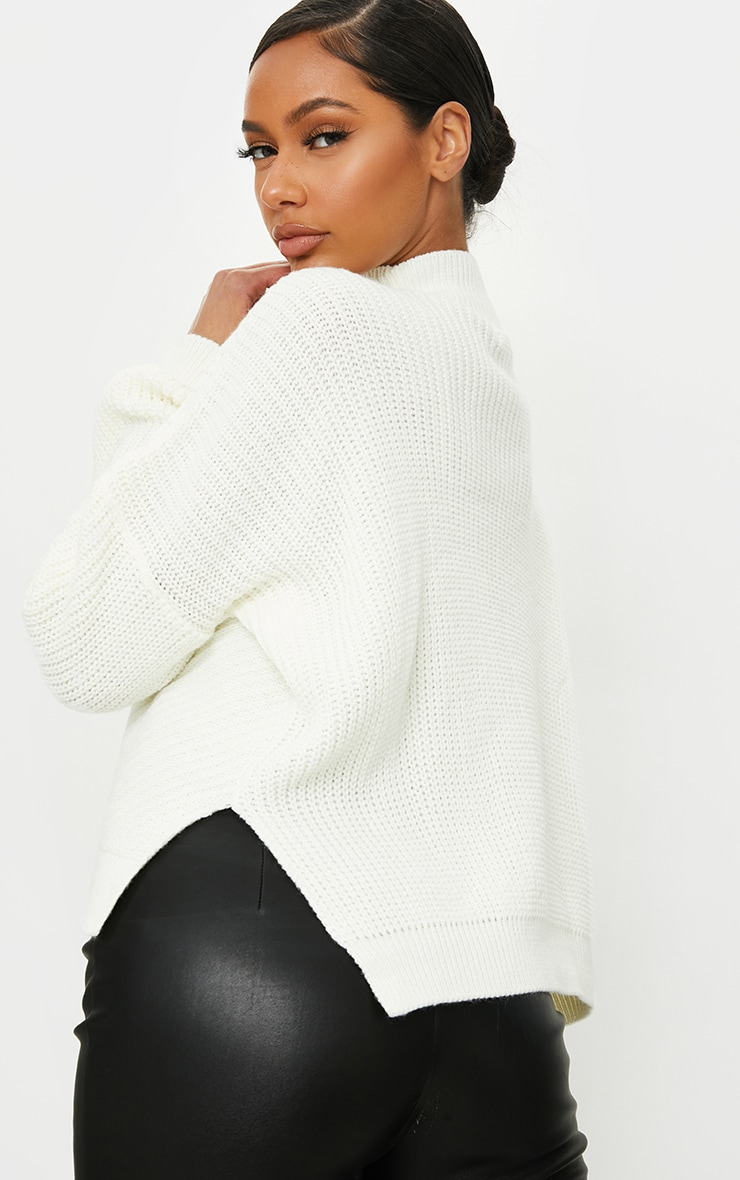 Cream Mixed Cable Knitted Turtle Neck Jumper 2