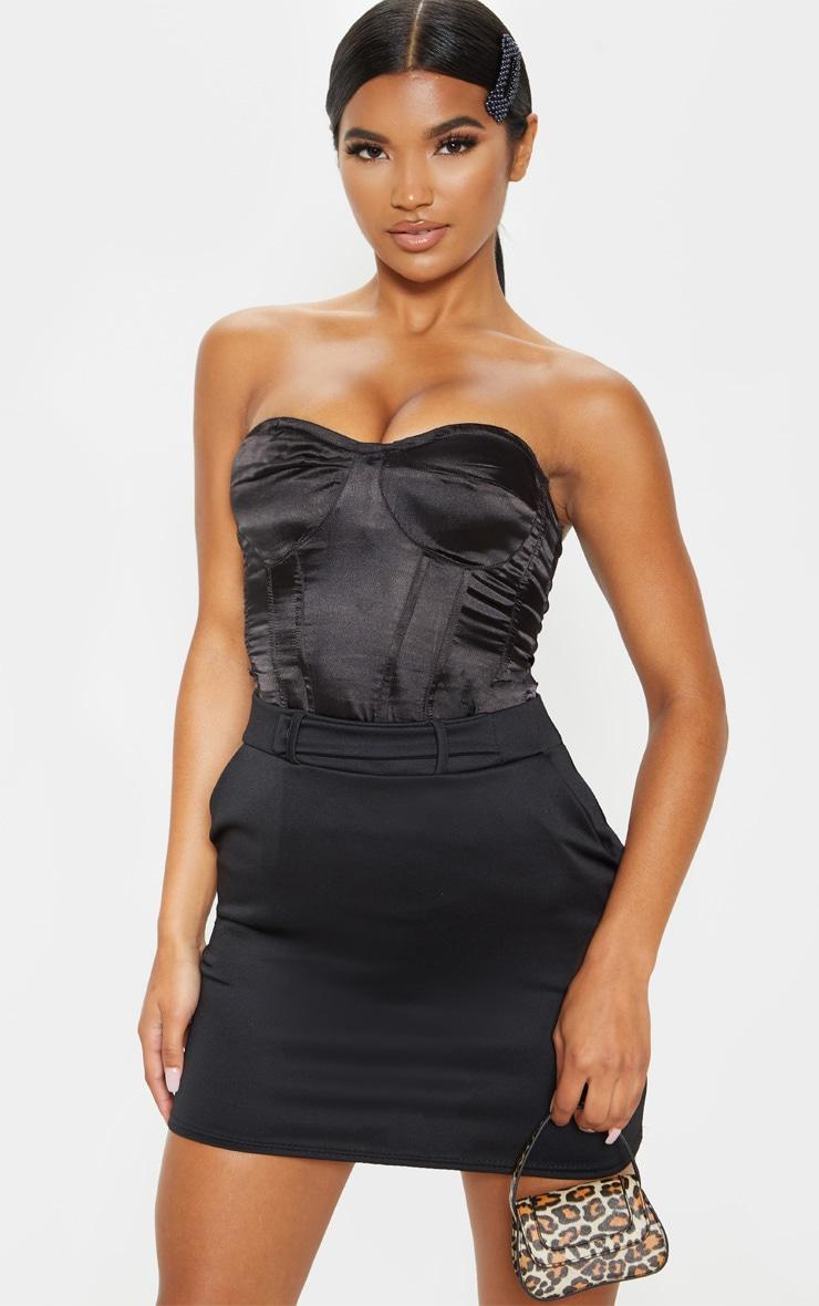 Black Basic Pocket Detail Mini Skirt  1