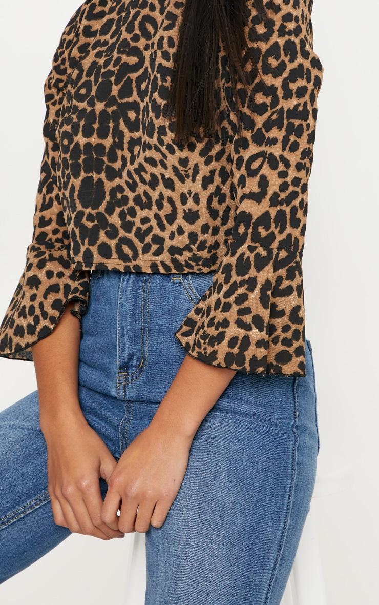 Petite Tan Leopard Print Cropped Blouse 4