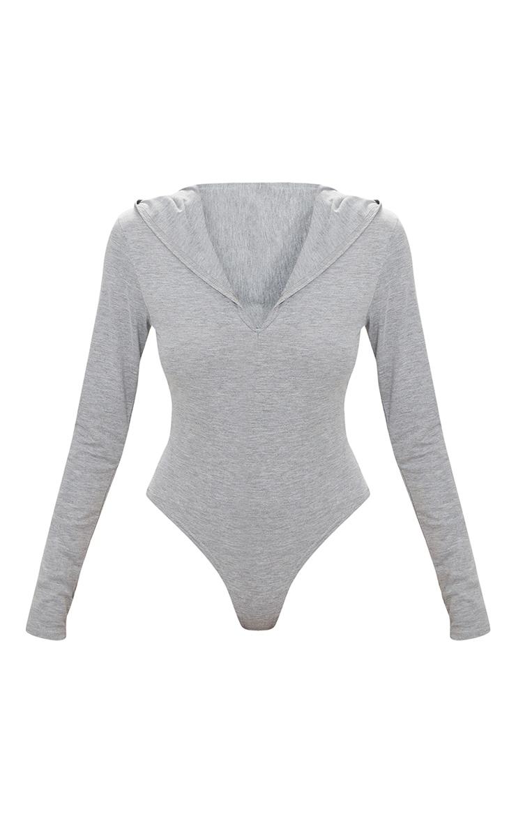 Grey Jersey Hoodie Bodysuit 3