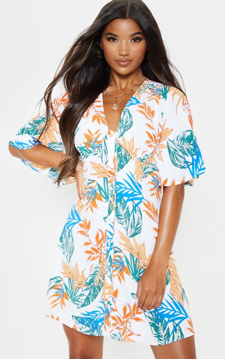White Tropical Floral Kimono Button Through Shift Dress 1