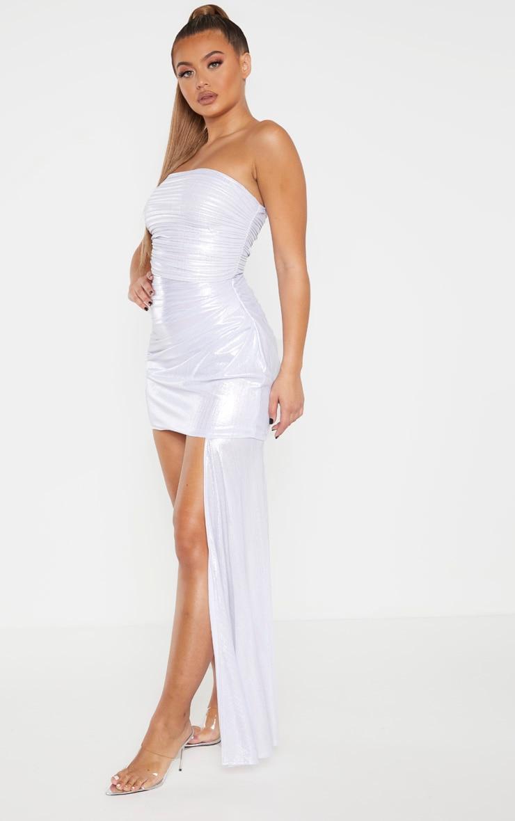 Silver Metallic Bandeau Drape Bodycon Dress 1