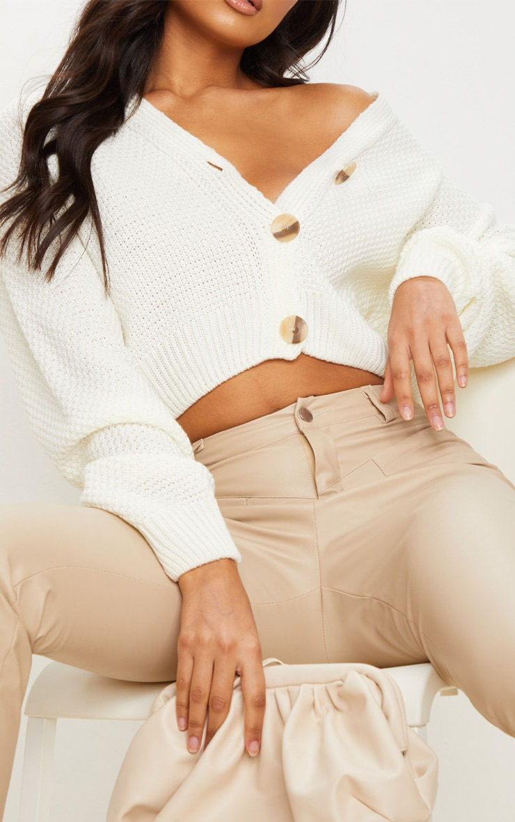 Cream Chunky Knit Button Down Cropped Cardigan 4